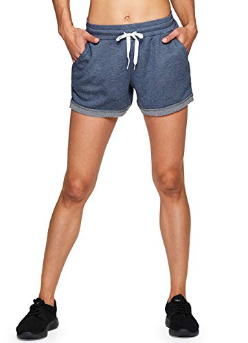 RBX Active Women's French Terry Workout Athletic Lounge Shorts Light Blue M