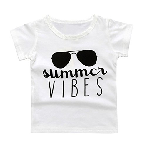 Gotd Infant Kids Baby Boy Girl Short Sleeve Letter Print T-shirt Tops Outfits Clothes (12 Months, White)