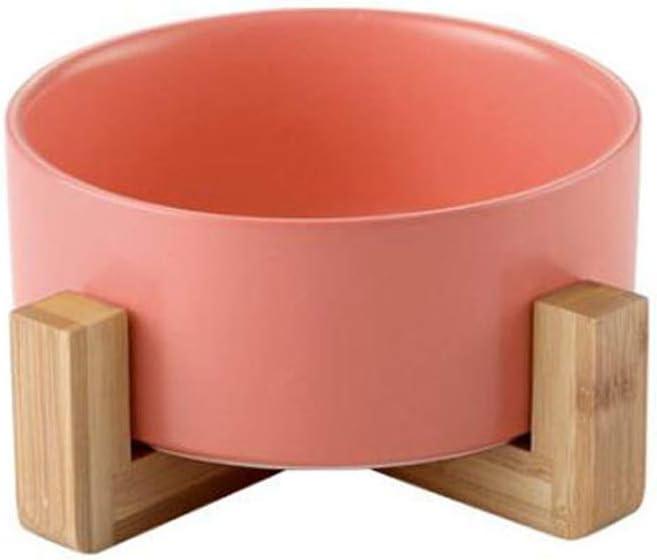 ZM HL MM Juego de tazones para Perros de Gato Elevado para Mascotas, tazón de cerámica con Soporte de Madera para Mascotas (Color : Pink)