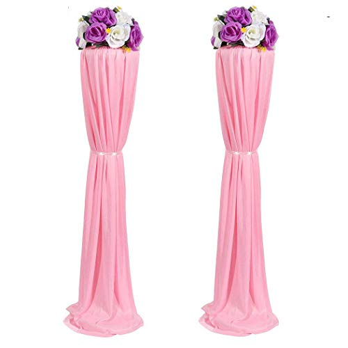 Amon Tech 8PCS Elegant Wedding Flower Column Plastic Road Lead Flower Stand with Cloth Cover for Wedding Party Decoration(Pink,120cm) -
