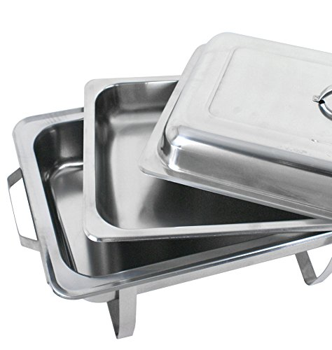 Super Deal Stainless Steel 4 Pack 8 Qt Chafer Dish w/Legs Complete, 4 Pack (pack of 4) by SUPER DEAL (Image #5)