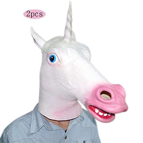 Halloween Costumes Unicorn /Horse Head Mask for Cosplay /Party Costumes/ Halloween/Thanksgiving Day/Birthday (Grinch Face Paint)