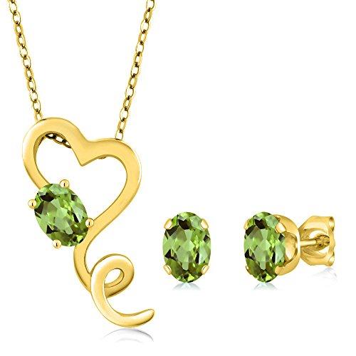 2.10 Ct Oval Green Peridot 14K Yellow Gold Pendant Earrings Set