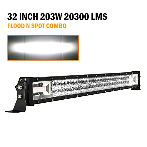 VehiCode 32 Inch Triple Row LED Driving Work Fog Pod Light Bar Kit - Cree Spot Flood Combo @ 203W 20,300LM 6000K White - Adjustable Bracket Hood Bumper Mount for Jeep Wrangler, Chevy, ATV