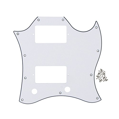 Pickguard Screws Gibson (FLEOR Scratch Plate SG Full Face Guitar Pickguard With Screws for Gibson Style Guitar,3-Ply White/Black/White)