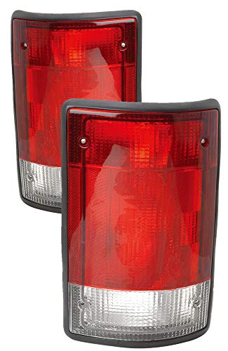 For 1995 1996 1997 1998 1999 2000 2001 2002 2003 Ford Econoline Van | Excursion Rear Tail Light Taillamp Assembly Driver Left and Passenger Right Side Pair Set Replacement FO2800114 FO2801114 ()