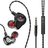 Nacome HiFi Earphone Dual Dynamic Driver Headphone Super Bass Stereo Headset with Mic (Black)