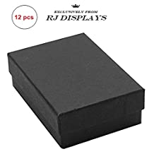 "12 Pack Cotton Filled Matte Black Paper Cardboard Jewelry Gift, Pocket Watch, Ring, Earring, Necklace Chain, Collectibles Collectibles Retail Box Size-3 1/4"" x 2 1/4"" x 1"" inches #32 by R J Displays"