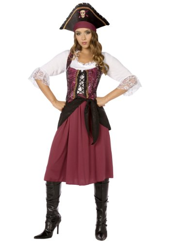 [Womens Burgundy Pirate Wench (Small)] (Halloween Pirate Woman Costumes)