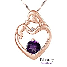 Mother Child Heart Love Month Birthstone Pendant Necklace In 925 Sterling Silver