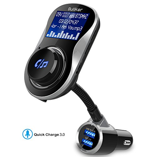 Bluetooth FM Transmitter For Car, Bullker Wireless Bluetooth Radio Receiver Car Kit Adapter With Quick Charger 3.0 Car Charger, 1.4 inch Display, Support AUX Input/Output, TF Card/Hands-Free Calling