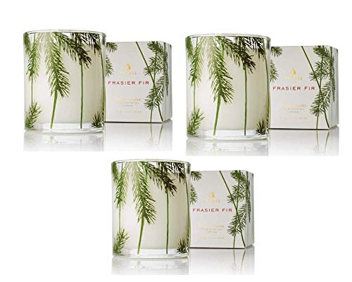 Thymes - Frasier Fir Pine Needle Decorative Glass Jar Candle with 50-Hour Burn Time - 6.5 Ounces (3 Pack)