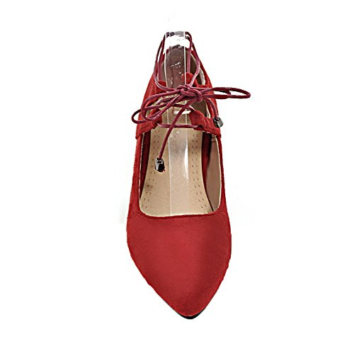 Closed Red VogueZone009 Toe up Solid Heels Shoes Frosted Low Women's Pumps Lace ZBBw7xqp