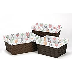 Sweet Jojo Designs Set of 3 One Size Fits Most Basket Liners for Grey, Coral and Mint Woodland Arrow Bedding Sets