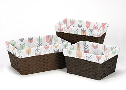 Sweet Jojo Designs 3-Piece Fits Most Basket Liners for Coral and Mint Woodland Arrow Bedding Sets by Sweet Jojo Designs