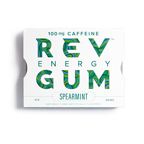Rev Gum Caffeine Energy Gum | 100mg of Caffeine per Gem | Spearmint Sugar Free Caffeinated Mint Chewing Gum - Low Calorie Chews to Help You Stay Alert, Awake and Focused - 4 Packs (24 Count)
