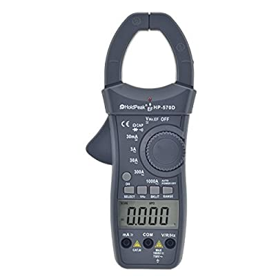 HOLDPEAK 570D Dual Display Digital Auto-Ranging Clamp Multimeter With Diode And Continuity Test –Digital Handheld Clamp Meter Multimeter With Data Hold Backlight