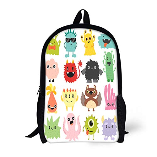 Pinbeam Backpack Travel Daypack Face Cute Monster Color Character Funny Emoticon Abstract Waterproof School Bag ()