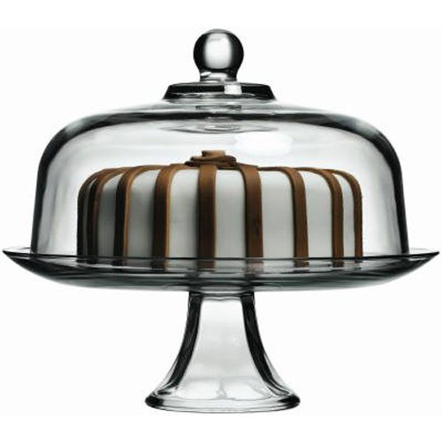 Anchor Hocking Presence Cake Plate w/Dome, 2 Piece Stand & Dome