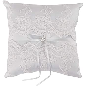LaRibbons Wedding Lace Ring Pillow - Bridal Wedding Ceramony Pocket Ring Pillow Cushion Bearer with Ribbons - 8 inch x 8 inch