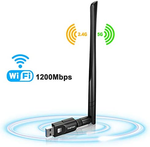 Mac10.6-10.15 Dual Band 2.4G//5G 802.11ac,Support Windows 10//8//8.1//7//Vista//XP//2000 USB WiFi Adapter 1200Mbps,USB 3.0 Wireless Network WiFi Dongle with 5dBi Antenna for PC Desktop Laptop Mac