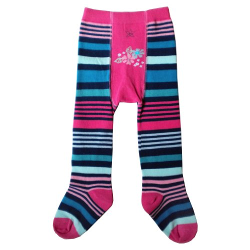 er Girls Navy Pink Stripe Flower Tights (6 to 12 months) (Flower Stripe Tights)