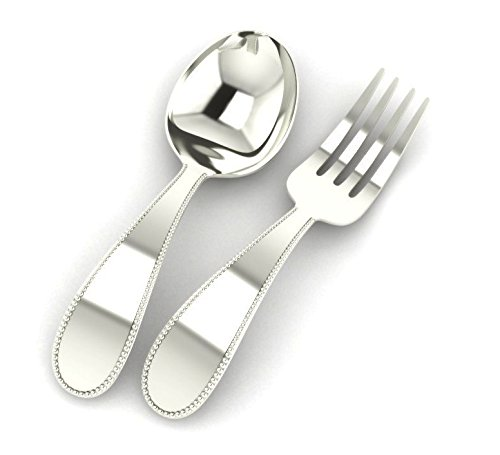 Miza Sterling Beaded Silver Baby Spoon & Fork Set