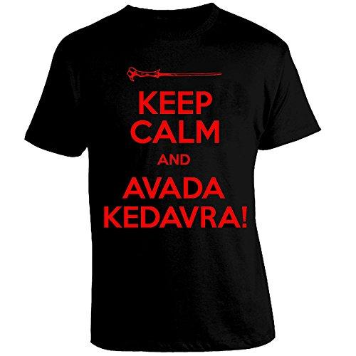 Maglia HARRY POTTER Keep Calm and Avada Kedavra Magia Bacchetta Colore principale Nero Scritta Rossa Size L