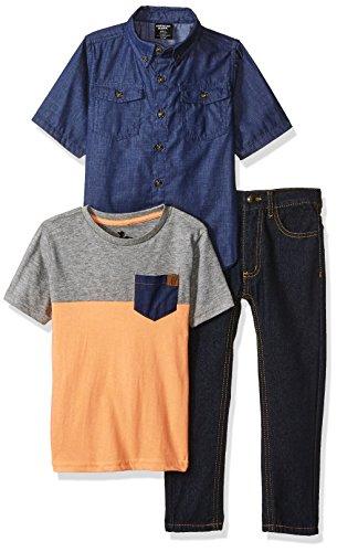 - American Hawk Toddler Boys' Short Sleeve Shirt, T-shirt and Pant Set (more Styles), Multicolor Plaid-SJ64, 2T