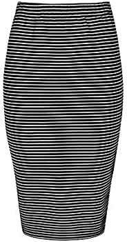 Womens Slim Cut High Waist Elastic Shirring Midi Pencil Skirt Adjustable Length - Mini to Midi