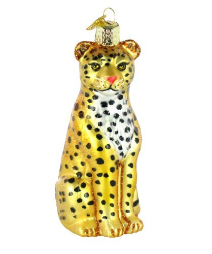 Old World Christmas Ornaments: Leopard Glass Blown Ornaments for Christmas Tree]()
