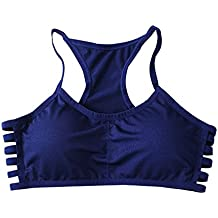 Lalasexyi Women Cotton Stretch Athletic Vest Gym Fitness Sports No Rims 1/4 Cup Padded