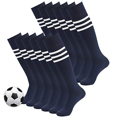 Baseball Socks, 3street Adult Youth Fashion Triple Striped Knee High Athletic Sport Soccer Rugby Softball Team Socks for Back to School Gift Navy 12 Pairs (Navy Rugby Womens)
