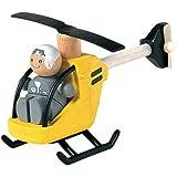 Plan Toys - Véhicules en bois - Hélicoptère avec pilote, en bois Plan City