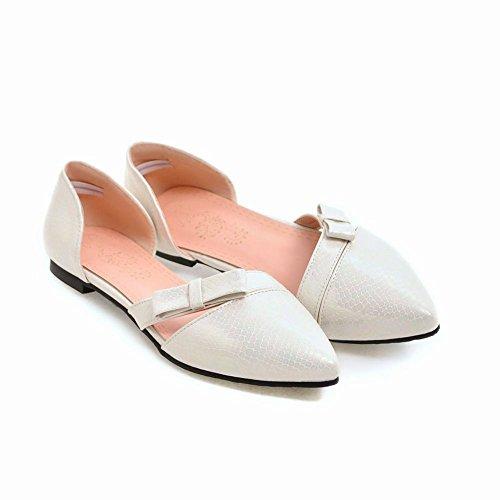 Sweet Flat Women's Carolbar Bow White Shoes Toe Court Pointed Pattern Snake Tx5gqdwIg