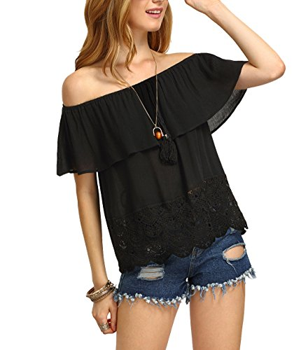 SheIn Women's Off Shoulder Ruffle Tassel Scalloped Hem Blouse Top Medium Black