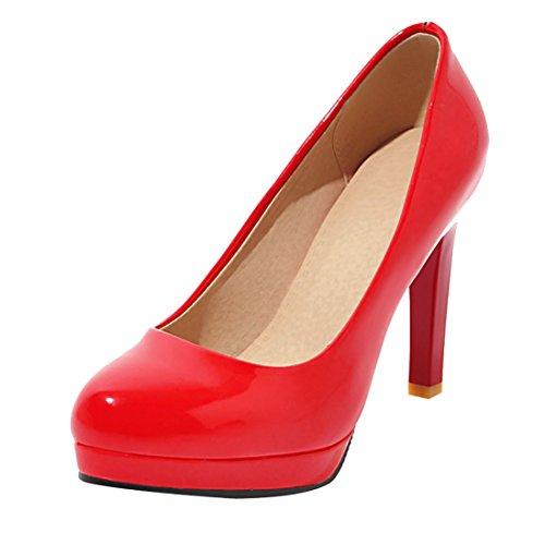 Talon Pour UH l'ete Rouge Escarpins Bout DE Ferme Moyennes Vernis Aiguilles 10 Femmes a cm Simple BOOqXZcSr