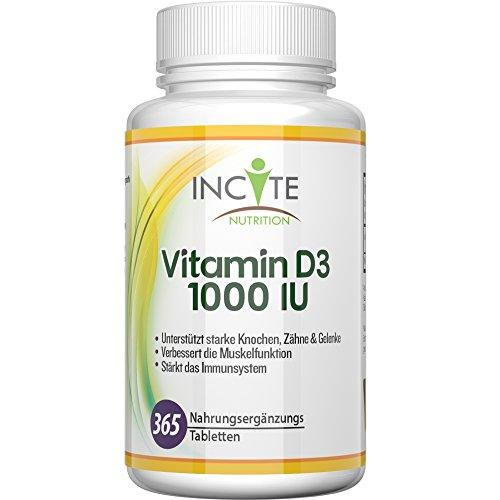Vitamin D3 hochwirksame 1000 IU 365 Tabletten (Jahresvorrat) - Cholecalciferol - Unterstützt das Immunsystem, Kräftigt Knochen und Zähne - Kleine 6mm Tabletten keine Softgels oder Kapseln - Gute Vitamin D Quelle - Bestes D3 Ergänzungsmittel - 100 % Vegetarische Milchprodukte und Glutenfrei - Hergestellt im Vereinigten Königreich