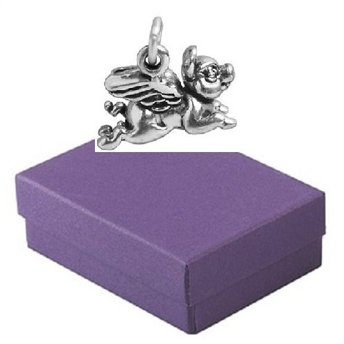 Sterling Silver Pig Animal Charm for Bracelet in Gift Box