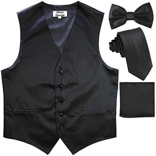 Oliver George 4pc Solid Vest Set-Black-4XL - Waistcoat Black