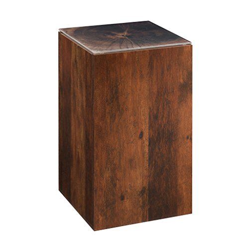 "Sauder 420126 Viabella Stump Side Table, L: 11.81"" x W: 11.81"" x H: 19.13"", Curado Cherry finish"