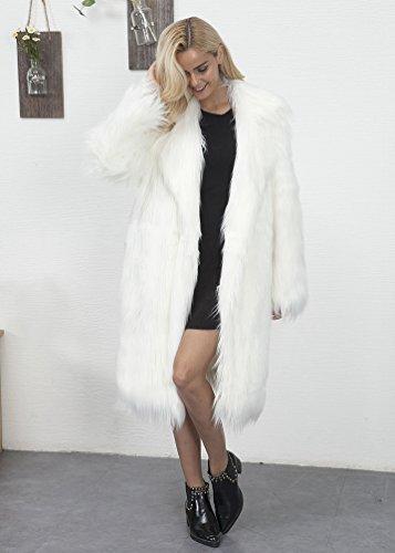 Et Femme Longue Yuandian Casual Faux Imitation Blanc Manteau Long Chaud Parka Veste Doux Hiver Fausse Élégant Allonger Fourrure Automne qSwZn1fw