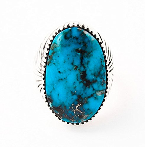 Navajo-Sterling-Silver-Turquoise-Ring-Size-12