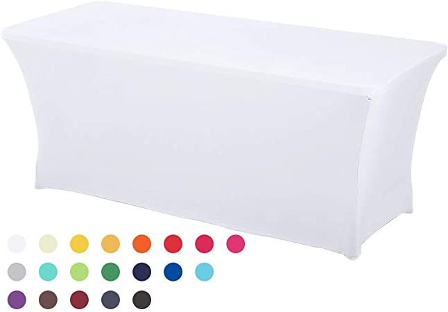 Rectangulaire Spandex Lycra Stretch Table Housse mariage buffet tissu 6FT-4 Couleurs