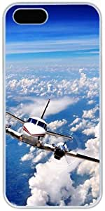 Airplane In Blue Sky For HTC One M8 Phone Case Cover Hard Shell White Cover Cases by iCustomonline