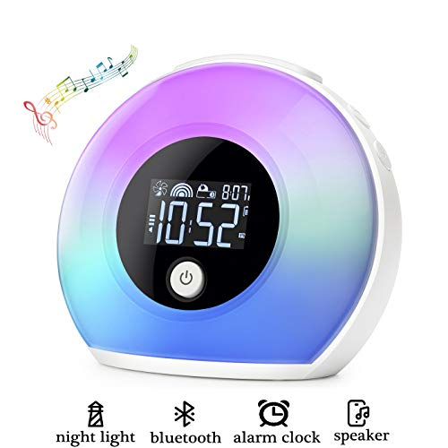 Homcasito Night Light Bluetooth Speaker Alarm Clock, Dimmable Warm Light & Colorful Light, 5 Colors Wake Up Light, 4 Brightness Bedside Lamp, Best Gift for Kids, Friends, Birthdays, Party