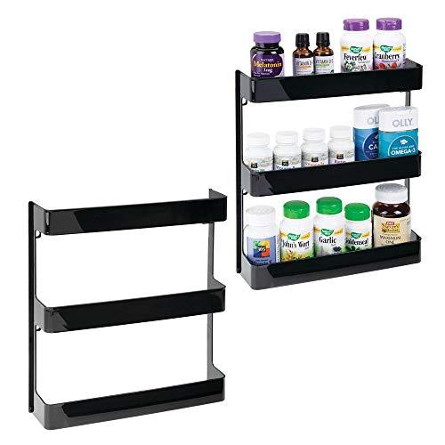 mDesign Plastic Wall Mount, 3 Tier Storage Organizer Shelf to Hold Vitamins, Supplements, Aspirin, Medicine Bottles, Essential Oils, Nail Polish, Cosmetics - Large Capacity, 2 Pack - Black