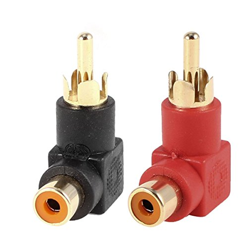 Conwork 2-Pack RCA Male to Female 90 Degree Right Angle Plug Adapters M/F Gold-Plated Connector