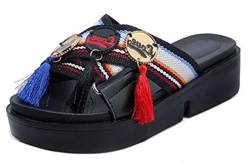 Epais Elégant Chaussure Easemax Noir Multicolore Mules Orteil Femme 5Xq5wUAR