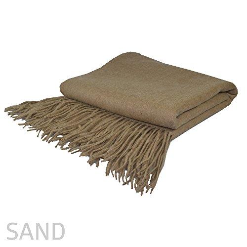 Maison Vue Blend Cashmere 50% Fine Wool Signature Throw, - Sand Blend Wool